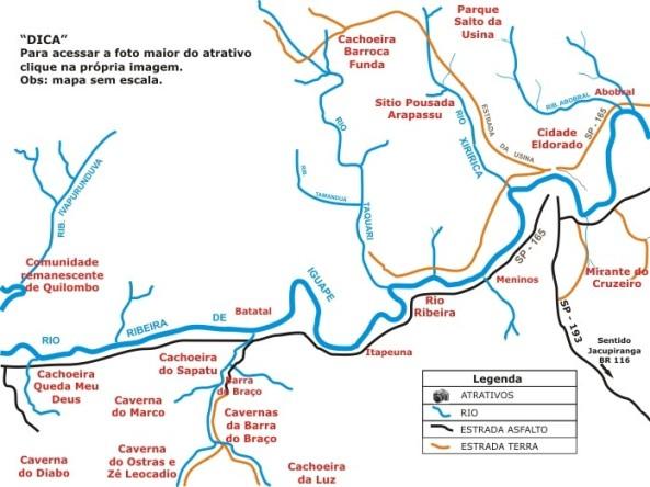 Mapa das cachoeiras de PETAR