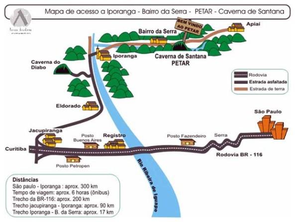 MAPA DE ACESSO A IPORANGA – BAIRRO DA SERRA – PETAR – CAVERNA DE SANTANA