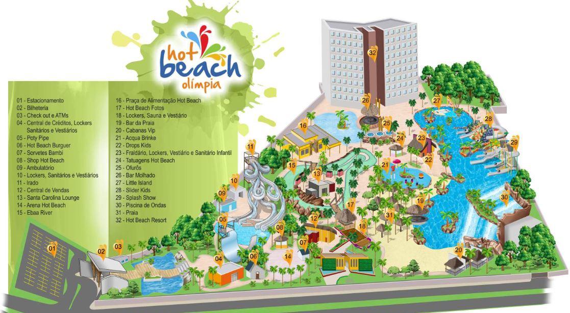 Mapa Hot Beach